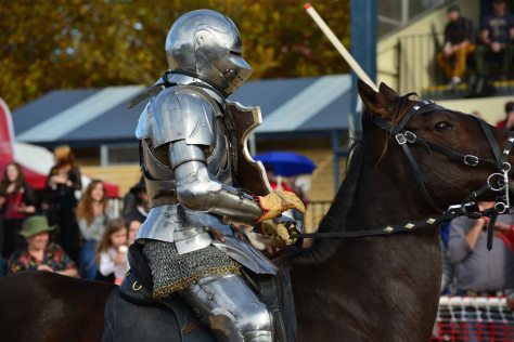 silver knight on brown horse