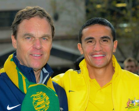 Coach Holger Osiek and Tim Cahill who was replaced 15min from full time to allow the new player Joashua kennedy to score the winning goal.