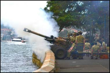 Twenty One Gun salute at Fleet Steps for Australia day
